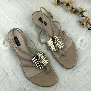 Escada Cream Leather Strappy Sandals